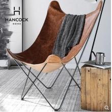 涵客家居丨北欧风创意家居设计师椅 牛皮绒毛 单人蝴蝶椅 休闲椅